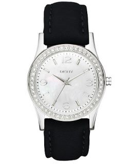 DKNY Watch, Womens Black Leather Strap 32mm NY8370   All Watches
