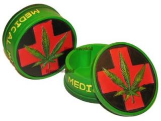 Medical Marijuana Round Stash Box Green Leaf Design