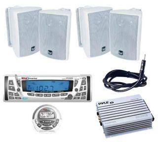 Marine Indash Radio Receiver Remote 4 Speakers 400WAMP Antenna
