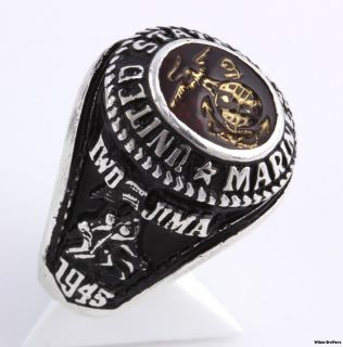 US Marine Corps Sterling Silver Military Crest Iwo Jima Ring Red Stone