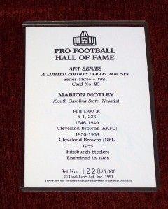 Marion Motley Signed Football HOF Goal Line Art Card Autographed