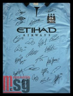 Manchester Man City signed shirt jersey Aguero Tevez Balotelli + COA