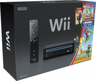 Black Wii Console Super Mario Bros Game