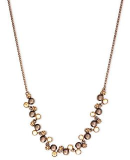 Givenchy Necklace, Brown Gold Tone Glass Frontal Strand Necklace
