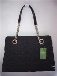 Kate Spade Black Quilted Elena Marivaux Noel Chain Tote Bag Purse $345