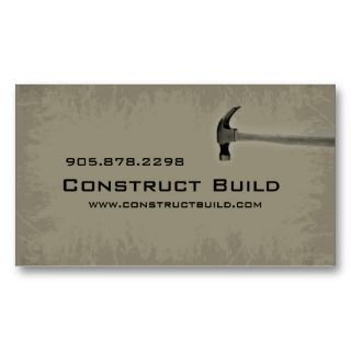 Construction Contractor Business Card Grunge green