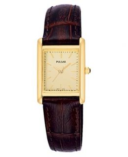 Pulsar Watch, Womens Brown Leather Strap PTC386