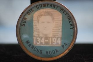 Oil Company Refinery Factory Employee Photo Badge Pin Marcus Hook PA