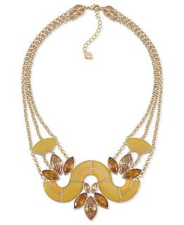 Carolee Necklace, Gold tone Glass Stone Frontal Necklace   Fashion