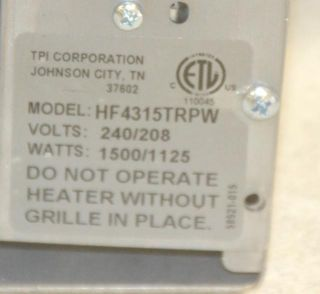 Markel HF4115TRPW Electric Forced Wall Heater