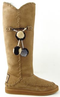 Juicy Couture Marsha Biscuit Waxy Suede Womens Designer Tall Winter