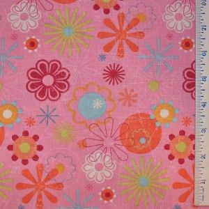 Half Yard Linda Maron SPx Fabrics Magic Garden Flowers Pink Floral