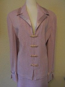 St John Evening Marie Gray Lavender Skirt 10 Jacket 16 Suit Wedding