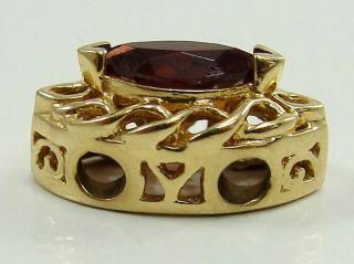 Victorian Era Style Bracelet Slide Charm Garnet Marquis Cut