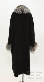 Marina Rinaldi Black Wool Cashmere Fox Fur Trim Coat Size 25