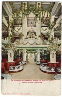 Chicago IL Postcard Interior Decor Marshall Field Department Store