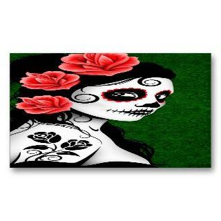 Dead Sugar Skull Girl   green Business Card Template