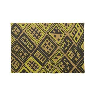 Yellow and black   Abstract African art Place Mats