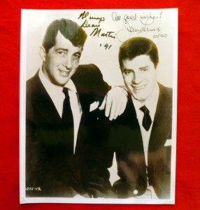 Dean Martin 1991 Jerry Lewis 1990 Dual Autographs 8 x 10 Authentic WOW