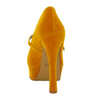 Lady Party Mustard Mary Janes High Heel Pumps Platform Chunky Sandals