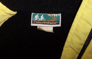 Nashbar Sz M Yellow Nylon Black Polar Fleece Lined Cycling Jacket