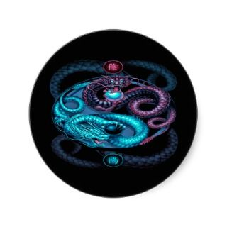 mythical intertwined dragons colorful design stickers