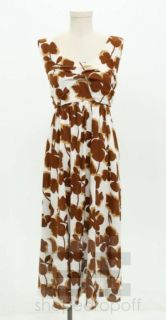 Marni White Brown Printed Cotton Belted Dress Size 44