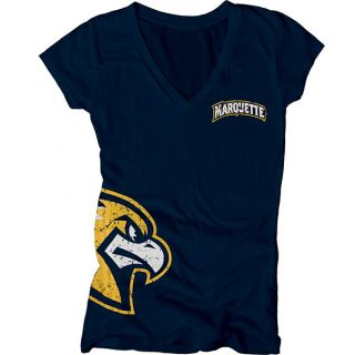 Marquette Golden Eagles Womens Navy Cossett Mascot Deep V Neck T