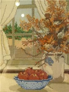 1984 Hand Cross Stitched Dried Flowers Apples Fall Autumn Window Scene
