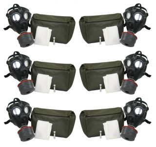 Swiss SM 74 Gas Masks 6 Filters 40mm 6 Bags Adult Size Military