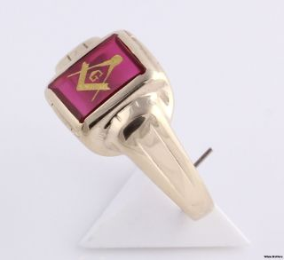 Master Mason Vintage Masonic Ring 10K Yellow Gold Red Spinel Blue
