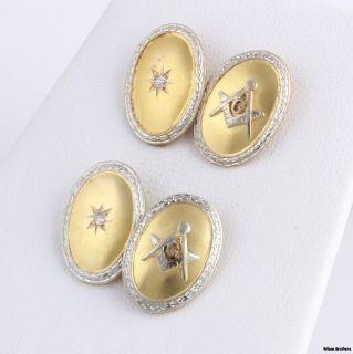 Vintage Masonic Diamond Cuff Links   14k Gold Blue Lodge Cufflinks