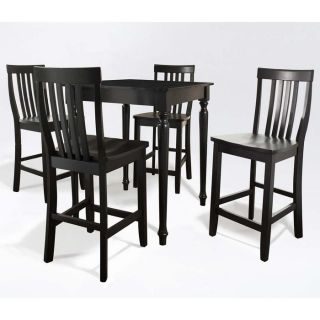Piece Pub Dining Set Table w/ 4 Turned Leg School House Chairs
