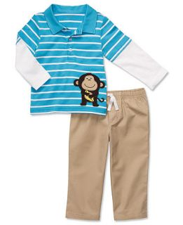 Carters Baby Set, Baby Boys Long Sleeve Monkey Polo and Pants   Kids