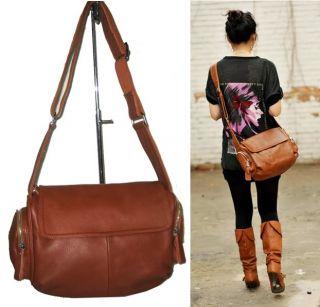 Womens Brown Cowhide Leather Messenger Shoulder Bags Handbags Satchel