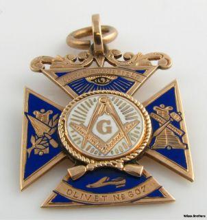 Blue Lodge Masonic Multi Symbol Fob   14k Solid Yellow Gold Vintage