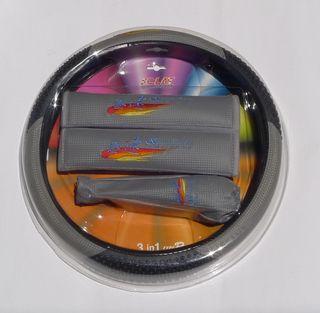 Carbon Fiber Massage Steering Wheel Cover Gray Seat Shoulder Pads