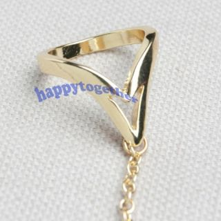 ASOS Triangle Linked Punk Double Finger Ring with Chain J0311 G