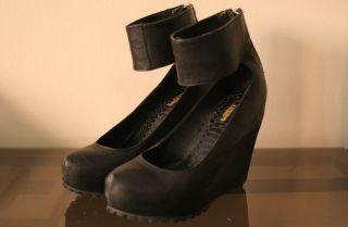 Matiko Size 6 Talia Wedges Black Leather Zipper Solestruck Urban
