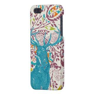 Vintage Modern Floral Deer Plum Aqua Coral iPhone 5 Covers