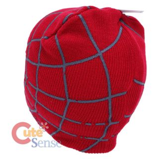 Marvel Spiderman Beanie Hat with Web Open Eyeholes One Size Knitted