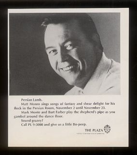 1966 Matt Monro Photo The Plaza Hotel NYC Print Ad
