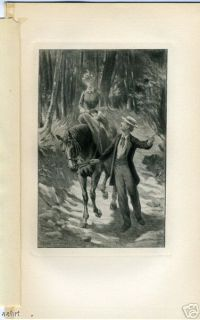 Man Leading Woman on Horse Riding BH 1896 Antique Print