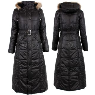 Women Designer Look Puffer Padded Shell Long Full Body Length Winter