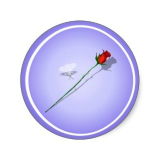 Long Stem Rose and Butterfly Sticker