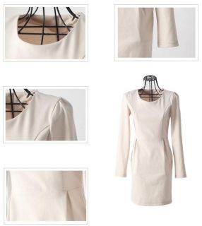 Traditional Beige Double sided thickening matt Long Sleeve Dress