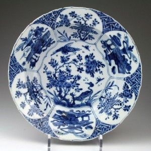 Superb Large Antique 17THC Chinese Kraak Blue White Klapmuts Porcelain