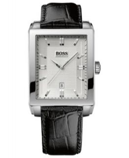 Hugo Boss Watch, Mens Black Leather Strap 1512619   All Watches