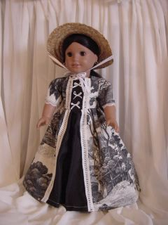 Colonial Felicity Dress Gown Fits 18 American Girl Doll