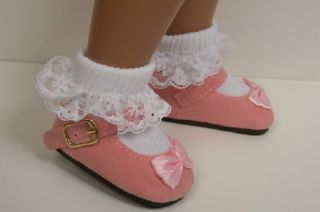 Pink Suede Mary Jane Doll Shoes for 16 17 Sasha♥